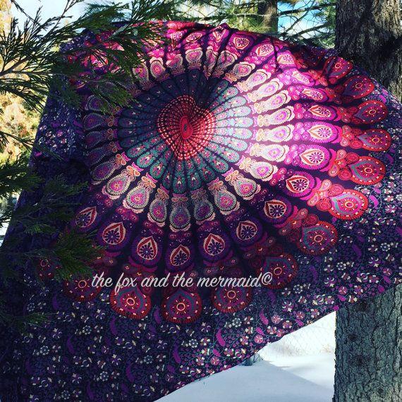 Paarse Indiase mandala tapijt Queensize door TheFoxAndTheMermaid