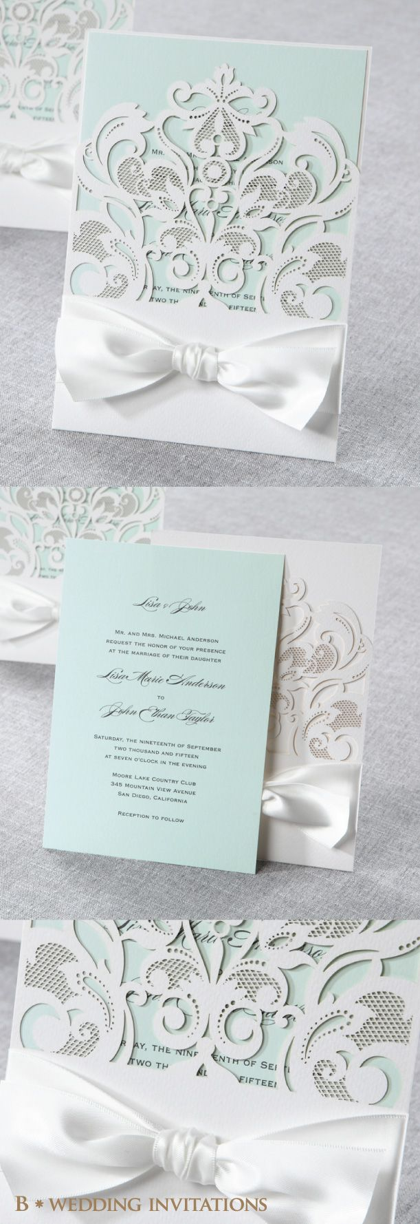 Classy Laser Cut with White Bow by B Wedding Invitations #bweddinginvitations…