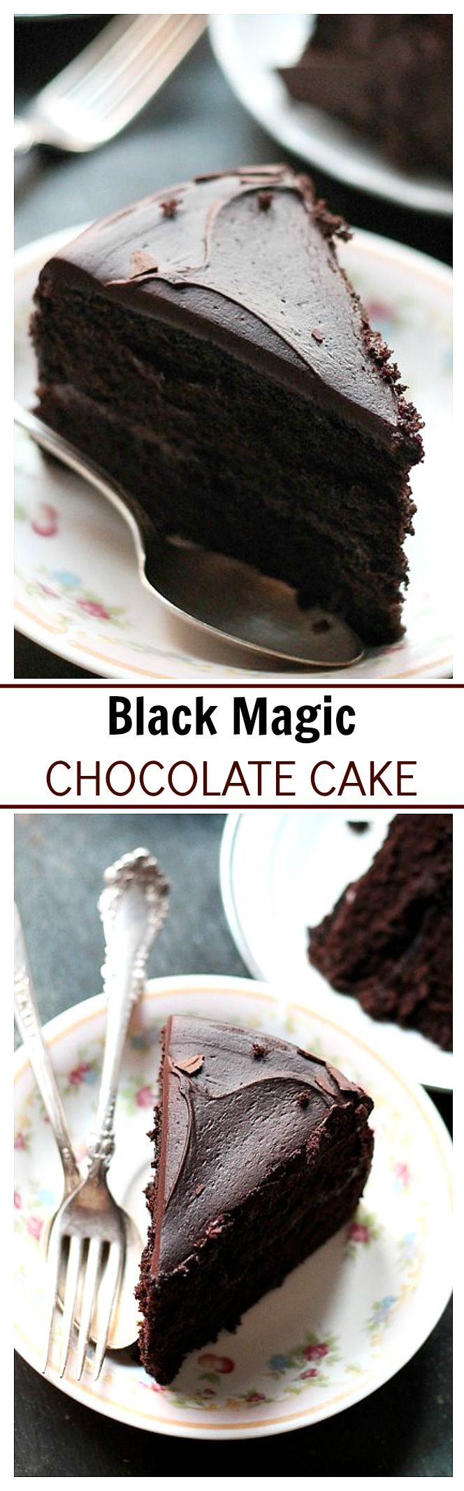 This is my go-to chocolate cake recipe. Moist rich and delicious dark chocolate cake that's perfect for Valentine's Day!