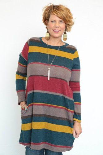 9c4e9ba65e5 Ever Wonder Striped Long Sleeve Tunic/Dress In Rust - Sizes - 12-20 ...