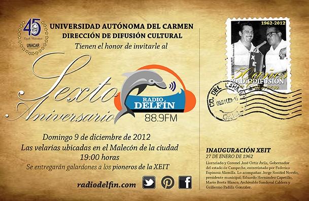 Detalles de la postal - invitación al sexto aniversario en el marco de los 50 años de radiodifusión en Carmen.