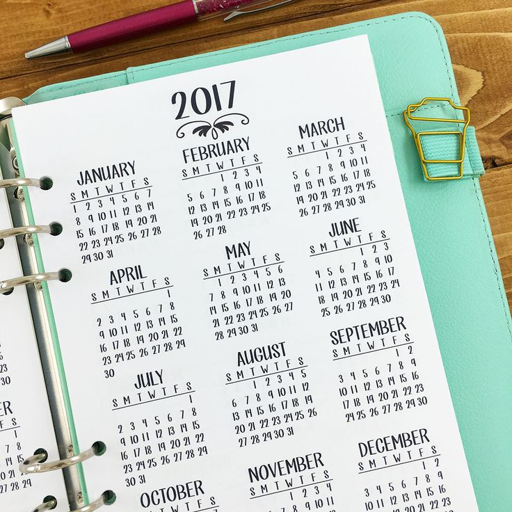 A5 2017-2018 Year at Glance Calendar by CityGirl Planners