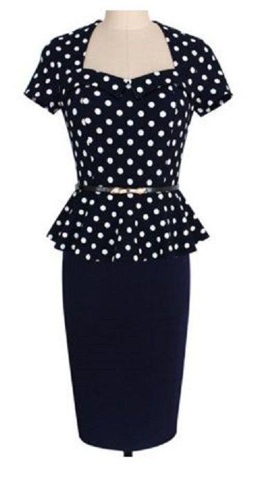 Trendy Square Neck Short Sleeve Black and White Polka Dot Flounce Work Dress For Women #Black_and_White #Polka_Dots #Work #Dress #Working #Woman #Fashion