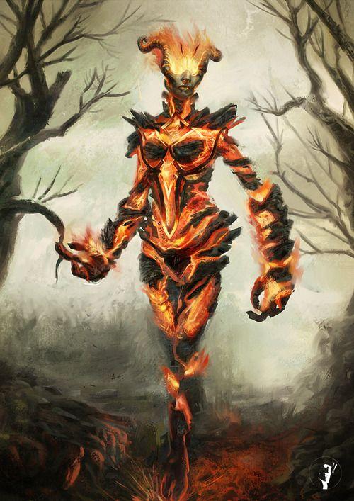 Elder Scrolls Fire Atronach by ~RobertoGomesArt