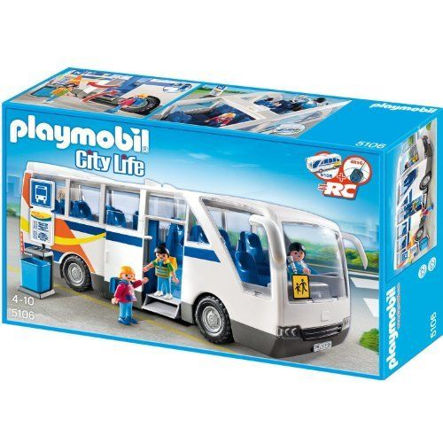 City Coach by Playmobil. $89.99. 15.4 x 5.3 x 5.9 inches (LxWxH).. This set is compatible with the PLAYMOBIL RC Module Plus (#4856).. Cruise around town in the City Coach. The large coach bus can accommodate up to eleven passengers and a driver, which can be let on and off the vehicle through the side door or removable roof. A side compartment allows for extra storage space. Set includes three figures, bus, bus stop sign with trash can, and other accessories.