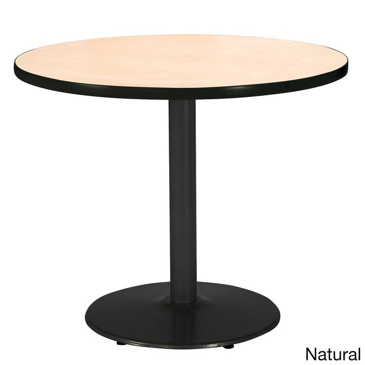 42-inch Round Pedestal Table with Round Black Base