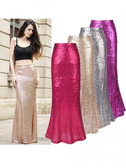 7ffedde58d Women Sliver Sequined Mermaid Maxi Fishtail Skirt Party Cocktail Skirt  #Chic218605_1 | WithChic