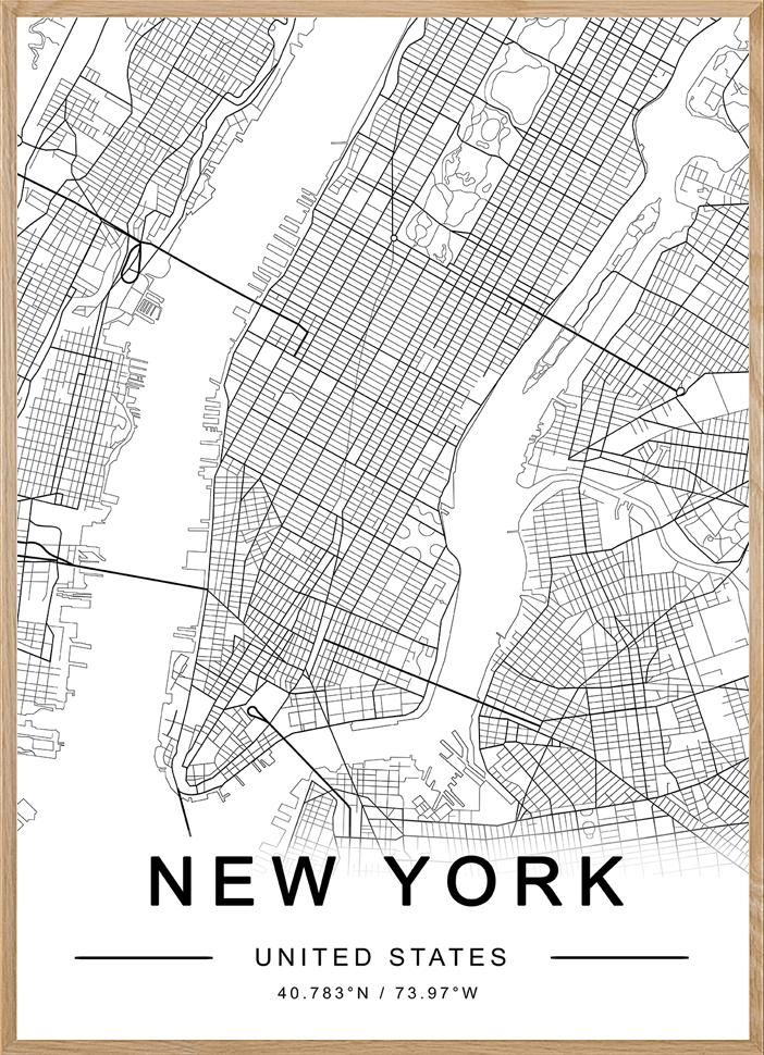 New York City Map Poster : poster, Poster,, York,