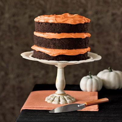 Chocolate Pumpkin Cake  Made from a mix, this cake is particularly moist and fudgy, thanks to two secret ingredients (mayonnaise and cocoa). Combine packaged coconut and nuts with creamy chocolate frosting to create the irresistible filling.