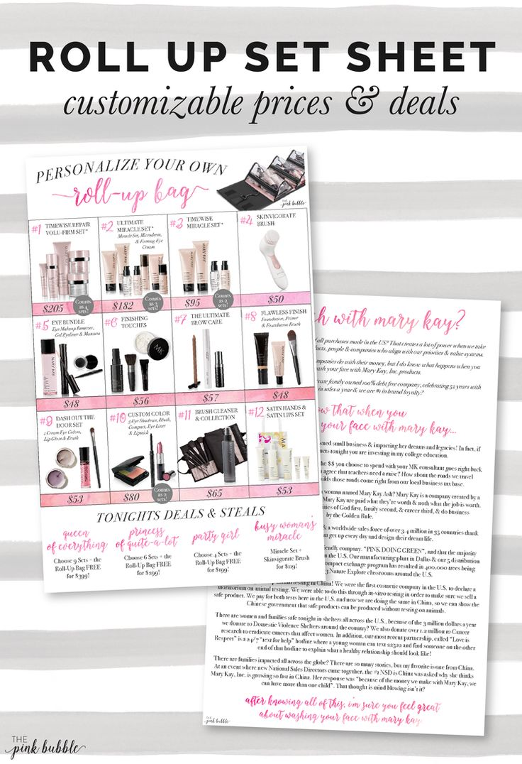 244 best mk buisness images on pinterest mary kay products mary mary kay roll up bag set sheet with custom prices deals plus marketing ccuart Images
