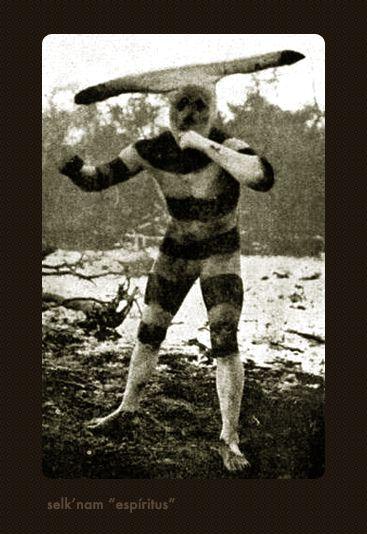 """Selk'nam: Ritual de iniciación, Hain, Espíritu """"kotaix"""". Tierra del Fuego 1923."""