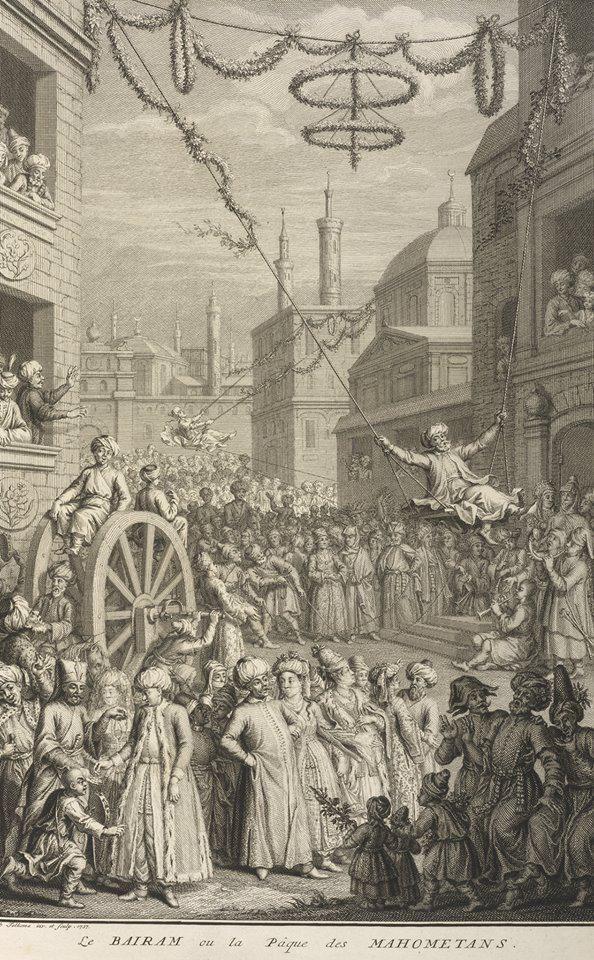 """[Ottoman Empire] Joy of Eid (Bairam) in Istanbul, 1727 (Osmanlı Dönemi İstanbul'da Bayram Neşesi, 1727) """"J.Folkema"""""""