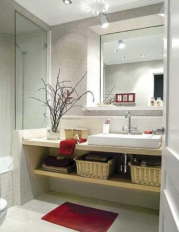 Ideas...like the half glass/half tile wall by the sink. Not sure on the open shelving, though I like the wicker basket