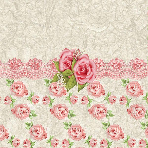 """Vintage Pink And Cream Rose Pattern"" by Debra Miller."
