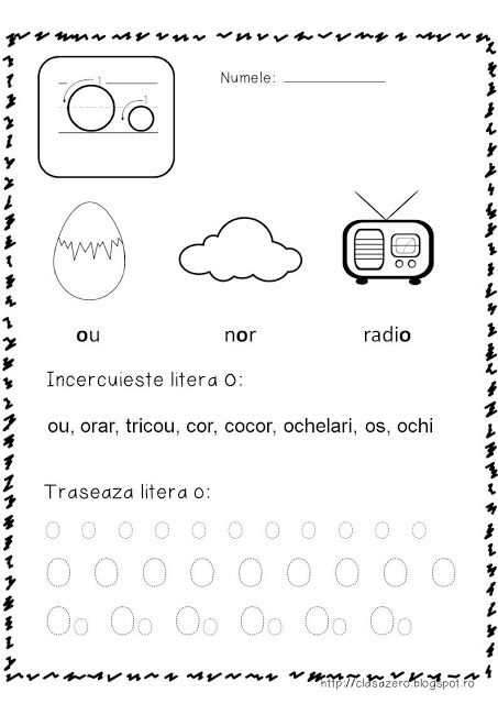 Clasa pregatitoare: Fisa de lucru pentru sunetul si litera O