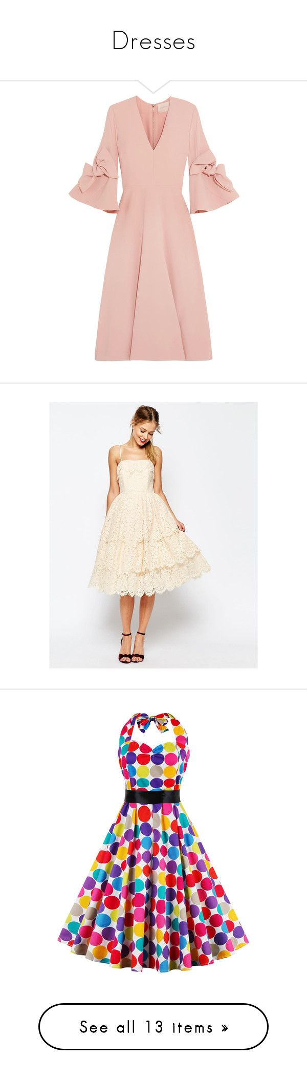 Dresses by penkreitto on Polyvore featuring polyvore fashion style Naeem Khan Vanessa Mooney Gianvito Rossi Cult Gaia clothing women's fashion dresses vestidos pink платья blush pink bow dress rose pink dress mid calf dresses bell sleeve dress v neck midi dress cream white lace cocktail dress midi cocktail dress midi dresses lace party dresses lace prom dresses rosegal retro halter dress retro style dresses retro halter top sweetheart halter dress colorful dresses lace dress polka dot…