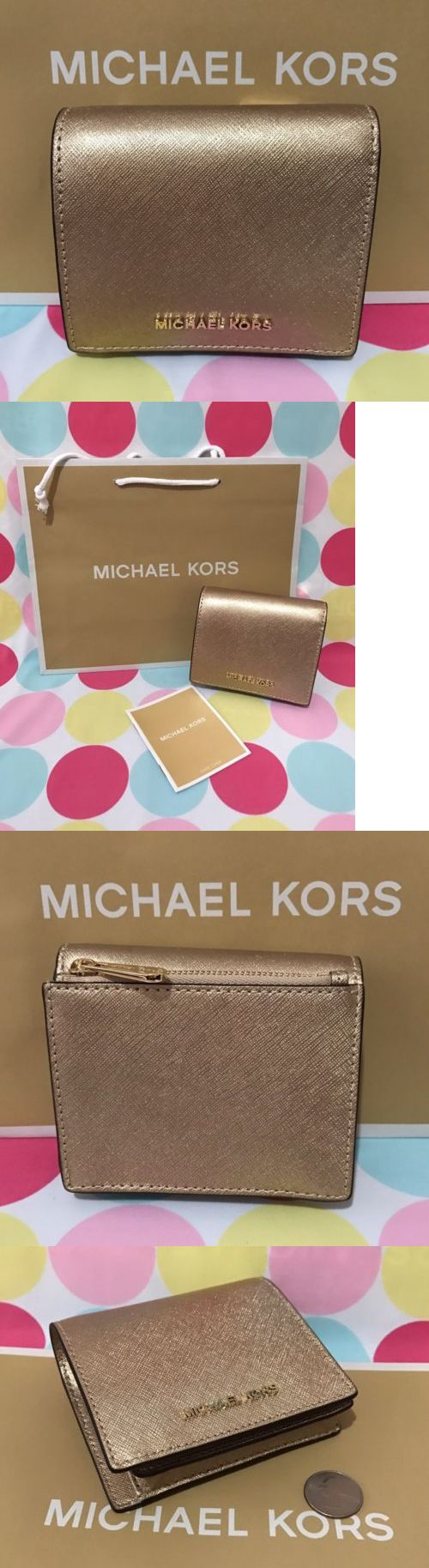 Women Accessories: New Michael Kors Jet Set Travel Carryall Card Case Leather Wallet In Pale Gold -> BUY IT NOW ONLY: $58.88 on eBay!
