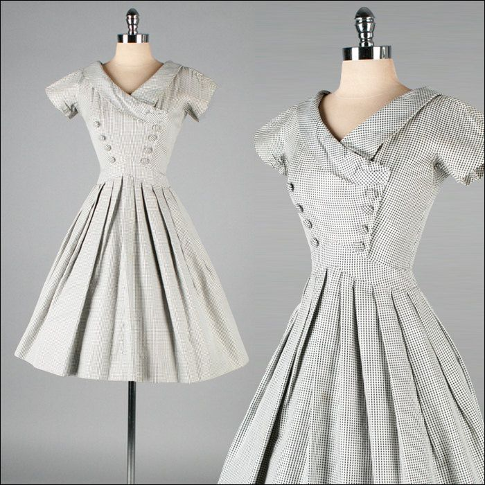 Vintage 1950s Black White Checkered Cotton Dress. Suzy Perette