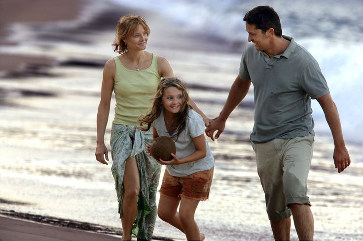 Nim's Island beachwalk scene, after playing coconut soccer - with Jodie Foster as Alex Rover, Abigail Breslin as Nim, Gerard Butler as Jack. (Studio shot, from Walden Media)