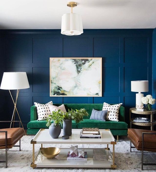 Rich Blue Walls Work Harmoniously With A Deep Green Couch And Neutral Colours Photo Studiomcgee Re Green Sofa Living Room Green Sofa Living Living Room Green #sofa #colors #for #small #living #room