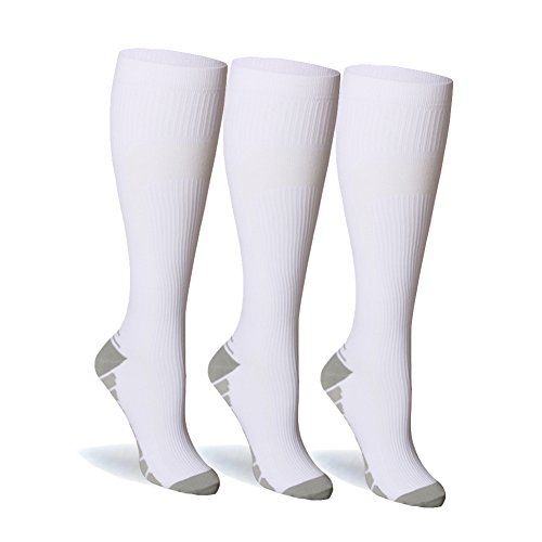 Compression Socks For Women and Men - 20-25mmHg- 3 to 6 Pairs BEST Compression Stockings for Running Athletic Edema Diabetic Varicose Veins Travel Pregnancy & Maternity (White 3 Pairs S/M)