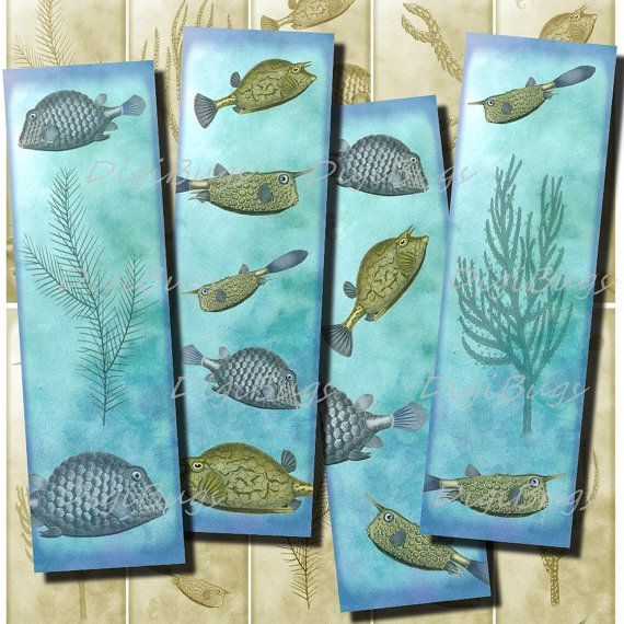 Printable Bookmarks, Fish Sea Life,  Instant Download by DigiBugs