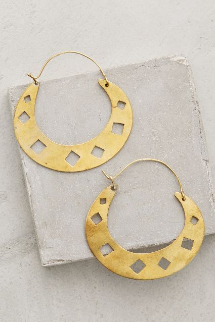 Diamond Punched Hoops - anthropologie.com