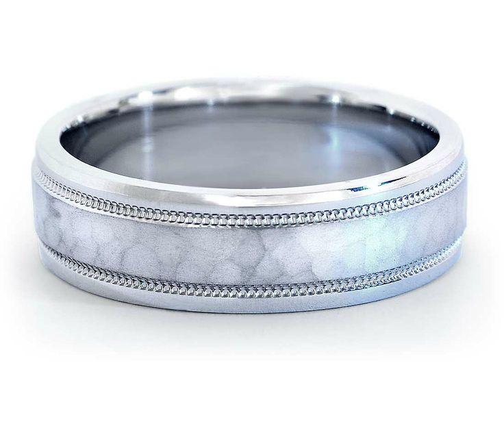 Tiffany Co Mens Platinum Milgrain Wedding Band Ring 6mm: Hammered Milgrain Comfort Fit Wedding Ring In Platinum