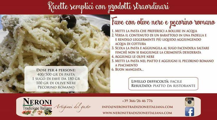 La nostra veloce ricetta con il sugo bianco di fave... #neronitradizioneitaliana #sughi #creme #patè #ciboitaliano #madeinitaliy #pasta