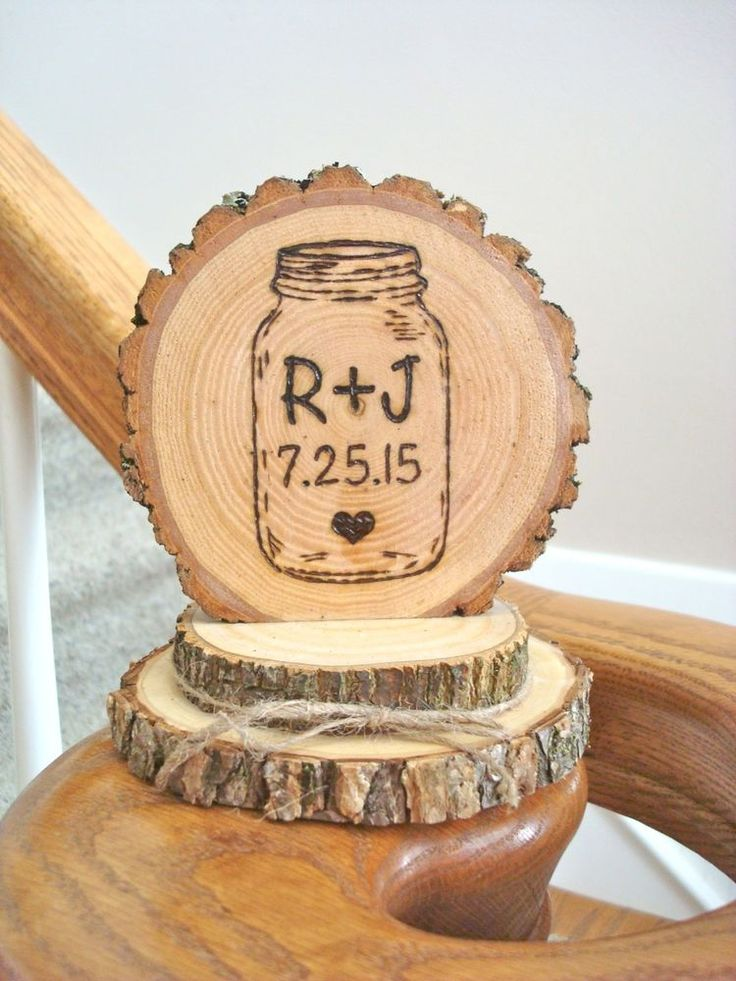 Rustic Wood Wedding Cake Topper Mason Jar Personalized Romantic