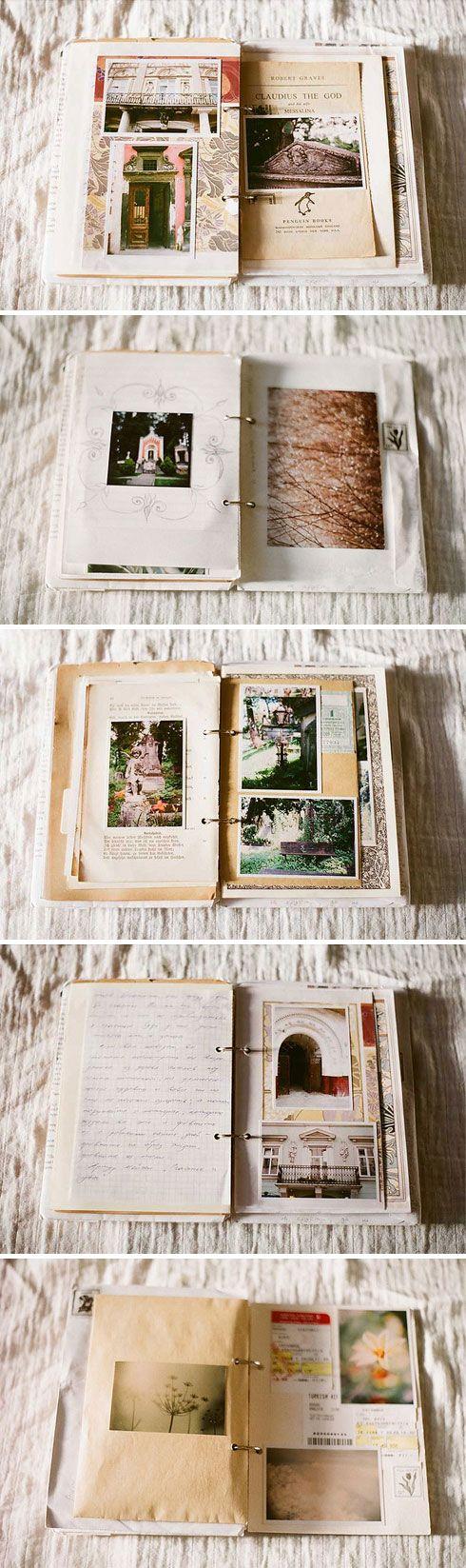 Sempre quis fazer isso, uma espécie de livro de viagens cheio de recortes, fotos e outras lembranças de cada lugar do mundo que já conheci. Esse das fotos é criação da Victoria, com suas recordaçõe...