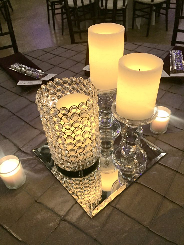 LOVE - crystal candle holder, with glass pedestals and LED candles