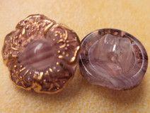 13 GLASKNÖPFE lila gold 14mm (6233-2) Knöpfe Glas