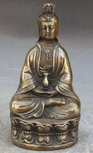 Art Metal Crafts 16CM Chinese Buddhism Bronze Copper Kwan-Yin Guan Yin GuanYin Buddha Statue statues wholesale Tibetan Copper