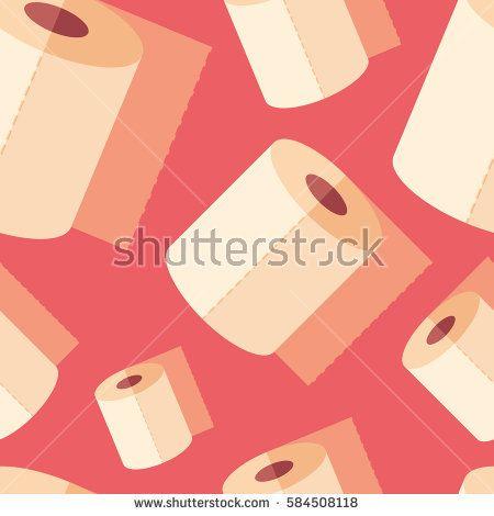 Toilet paper flat icon seamless pattern. #beautypattern #vectorpattern #patterndesign #seamlesspattern