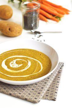Entrée de Noël : Velouté de lentilles vertes au cumin (vegan, sans gluten) - Sweet & Sour | Healthy & Happy Living http://www.sweetandsour.fr