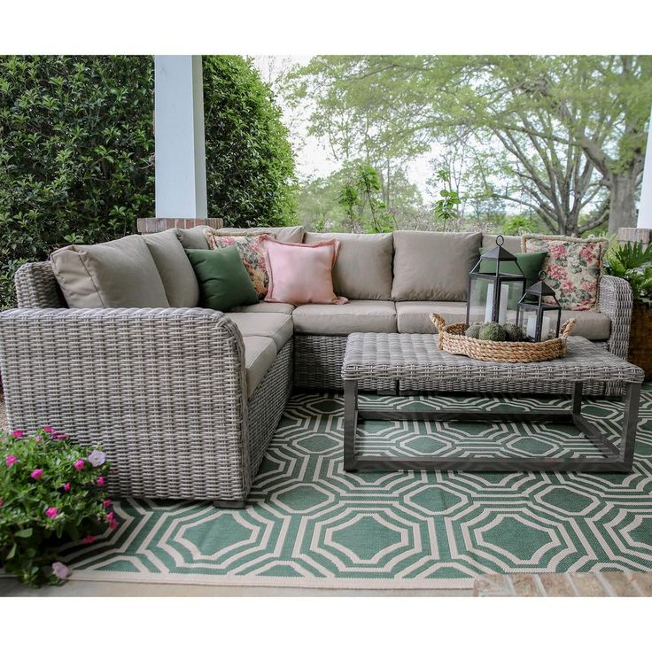Leisure Made Forsyth 5-Piece Wicker Outdoor Sectional Set with Tan Cushions
