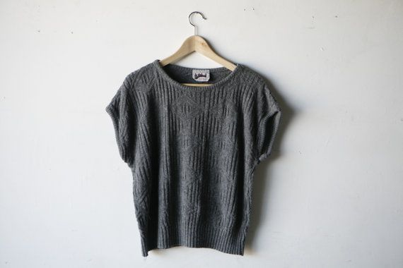 80s 90s oversize SLOUCH grey SHORT sleeve SWEATER