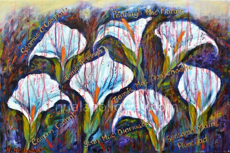 """Fractured Lillies - 1916"" by Nuala Holloway - Oil on Canvas  This painting is a homage to the seven executed leaders of the 1916 Rising who signed the Proclamation. The lily, a symbol of hope and life is used to commemorate each young man who died in their fight for an independent Ireland. #Lillies #Ireland #1916Rising #IrishArt"