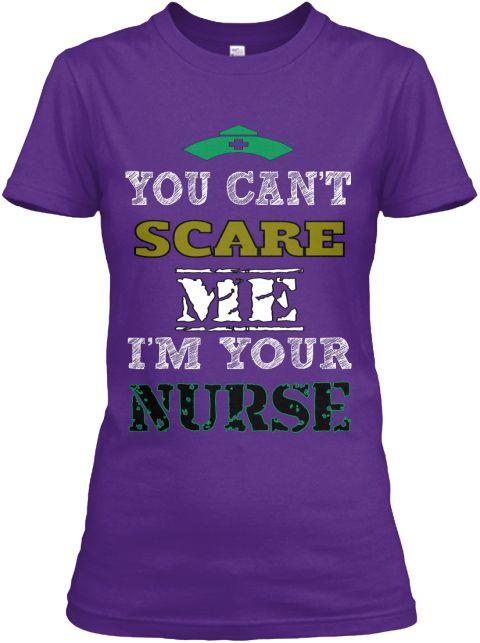You Can't Scare Me I'm Your Nurse Purple Women's T-Shirt Front