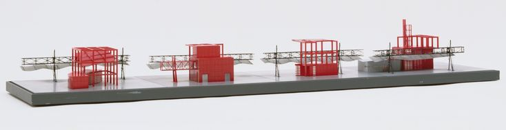 "Bernard Tschumi. Parc de la Villette, Paris, France, Four Follies intersecting North-South Gallery. 1982-98. Acrylic and metal. 6 1/2 x  60 x  15 1/4""  (16.5 x  152.4 x  38.7 cm). Gift of the architect. 433.1992. © 2018 Bernard Tschumi. Architecture and Design"