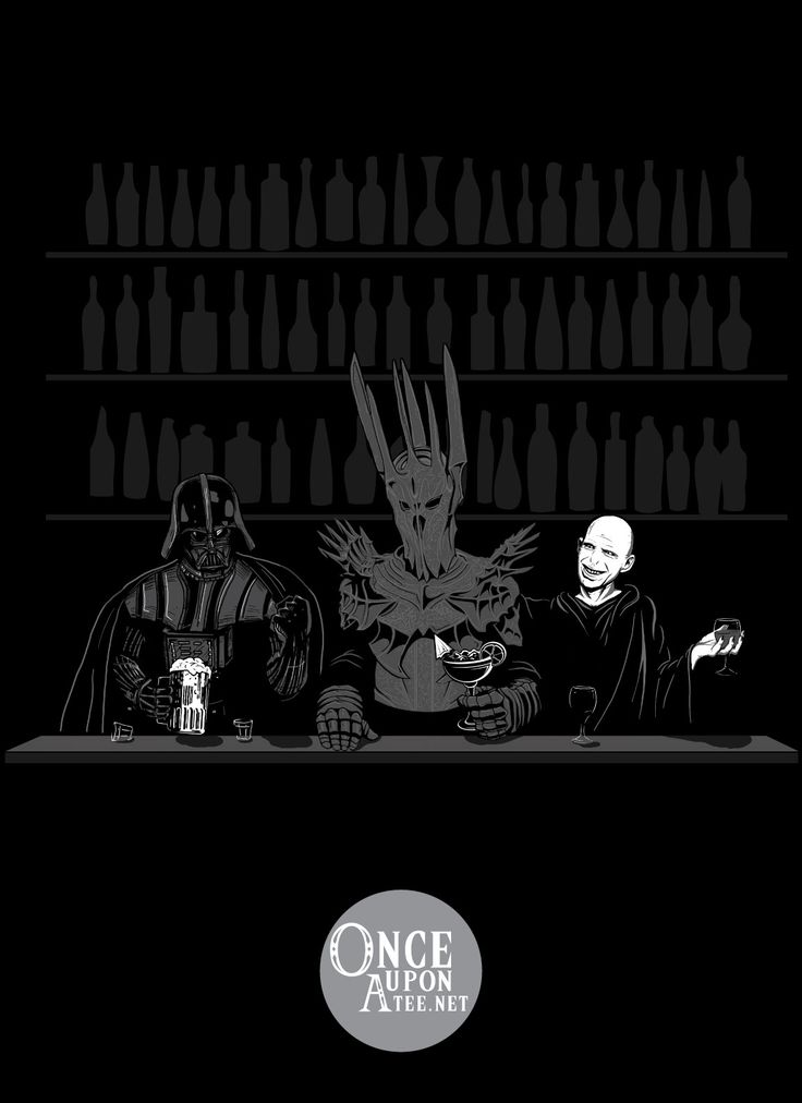 "He who shall not be named, Vader, and Sauron walk into a bar... No, seriously. In ""Dark Lord Happy Hour"" they walk into a bar for the greatest happy hour of all time.  Created by: Spacemonkeydr"