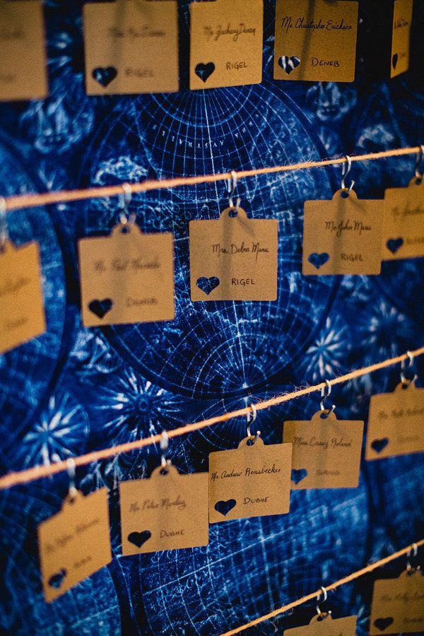 Hang place cards in front of a vintage star map. | 21 Stellar Ideas For An Astronomy-Themed Wedding