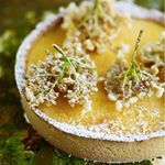 Lemon & gooseberry tart with elderflower fritters | Gill Meller