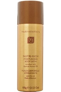 Nutri-Rich Moisturising Body Satin |  This is a fantastic and convenient way to moisturise and enjoy one of the oldest products in Nutrimetics - Apricot Kernel Oil.  Now it comes in a spray can for quick and easy application.  It is amazing! $9.90 16th Feb - March catalogue only!
