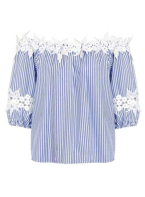 *Quiz Blue and White Stripe Bardot Top