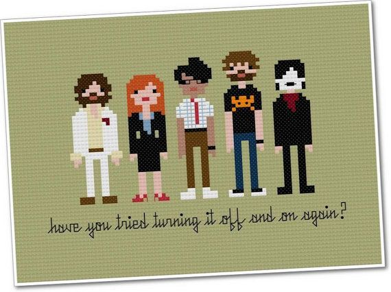 love this :)  Pixel People  The IT Crowd  Crossstitch PDF by weelittlestitches, $6.00