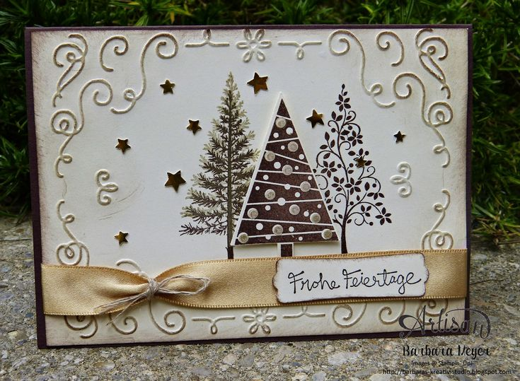Barbara's elegant card: Festival of Trees, Good Greetings (hostess), Filigree Frame embossing folder, Tree Punch, Confetti Stars Punch, & more. All supplies from Stampin' Up!