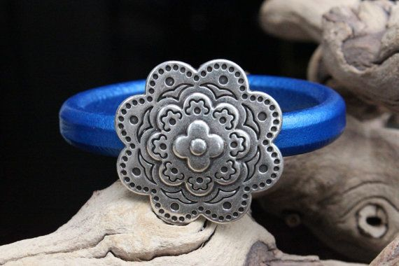 Licorice Leather Bracelet Layered Zamak Flower Focal Magnetic Clasp Summer Trends May Finds May Gifts Mothers Day on Wanelo
