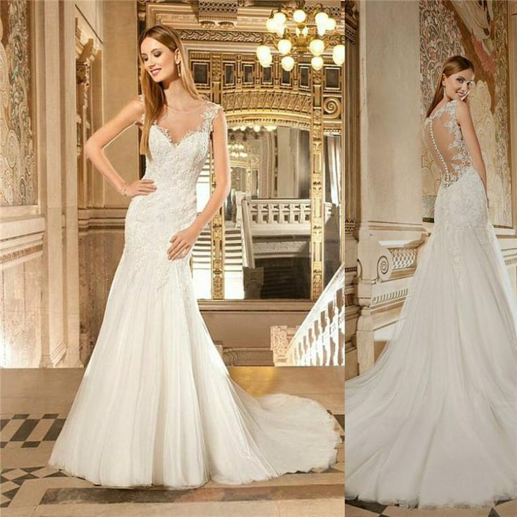 Custome Made Bridal Gown Illusion Back Mermaid Trumpet Sheer Crew Brush Wedding Dress Gorgeous Lace Tulle Bride Dress 2015 Plus Size from Blissbride,$175.92 | DHgate.com